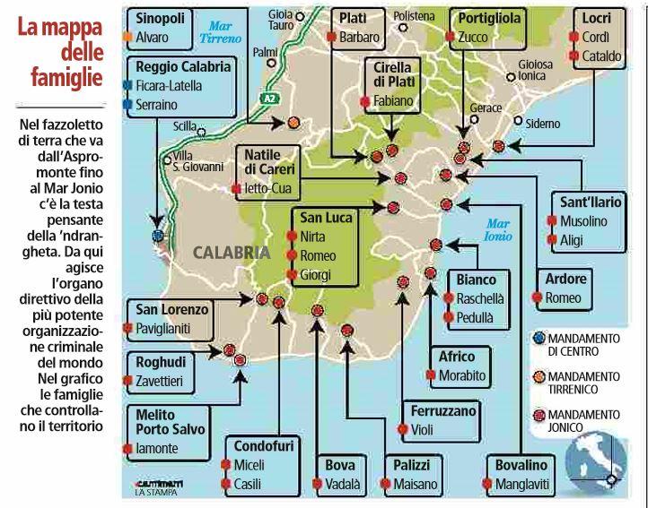 mappa famiglie ndrangheta