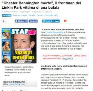 storia bufala Chester Bennington Linkin Park