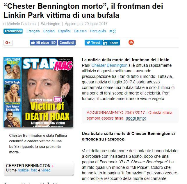 È morto Chester Bennington: il cantante dei Linkin Park