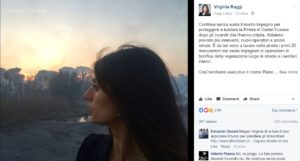 foto virginia raggi incendi