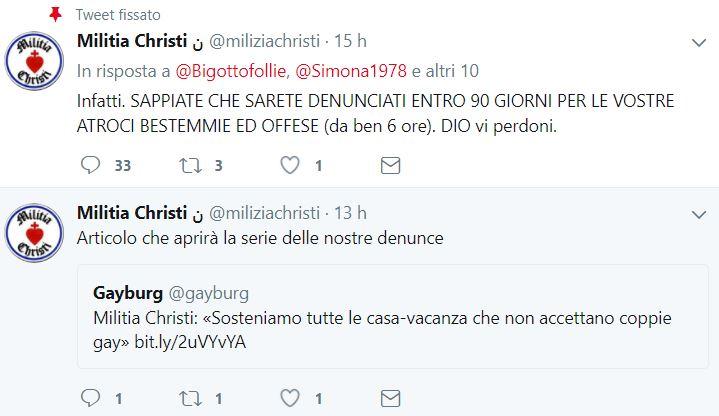 militia christi denunce bestemmie