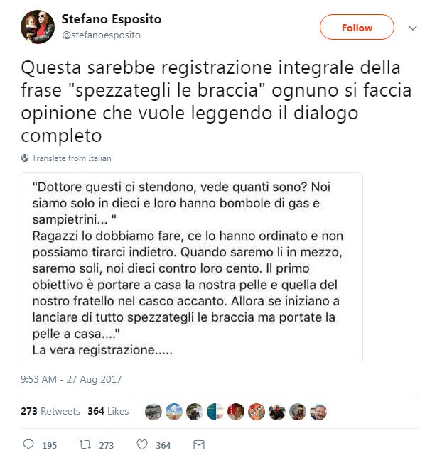 stefano esposito trascrizione dialogo roma migranti curtatone - 1