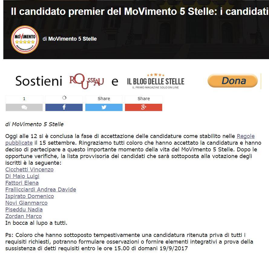 candidati premier m5s