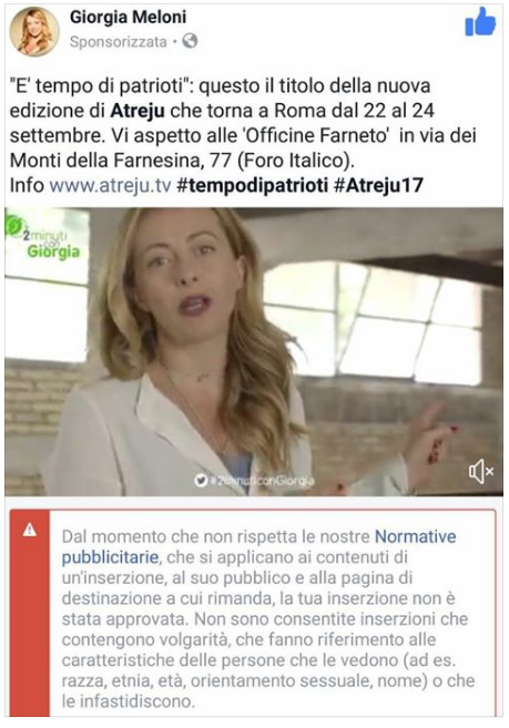 giorgia meloni video censurato Facebook - 3