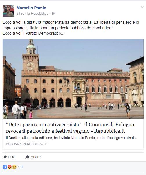 marcello pamio boetico bologna patrocinio comune - 1