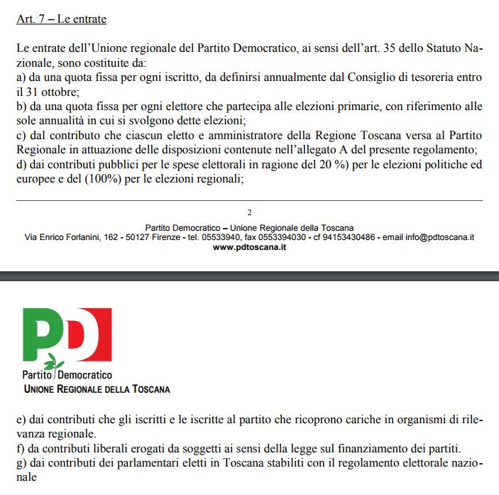 regolamento finanziario pd toscana contributi amministratori locali - 1