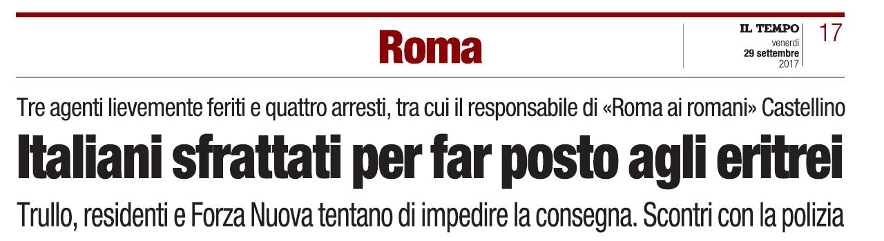 roma ai romani forza nuova famiglia appartamento ater trullo - 1