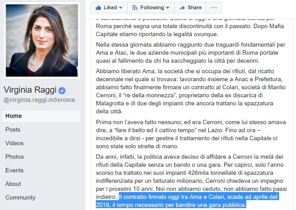 virginia raggi monnezza a cerroni