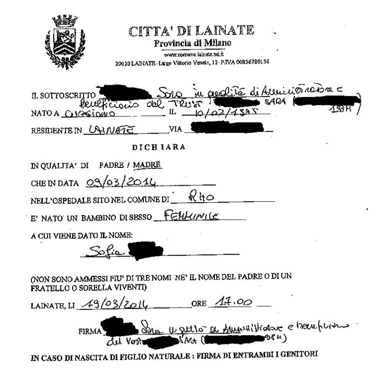 atto di nascita popolo unico stato italia corporation - 1