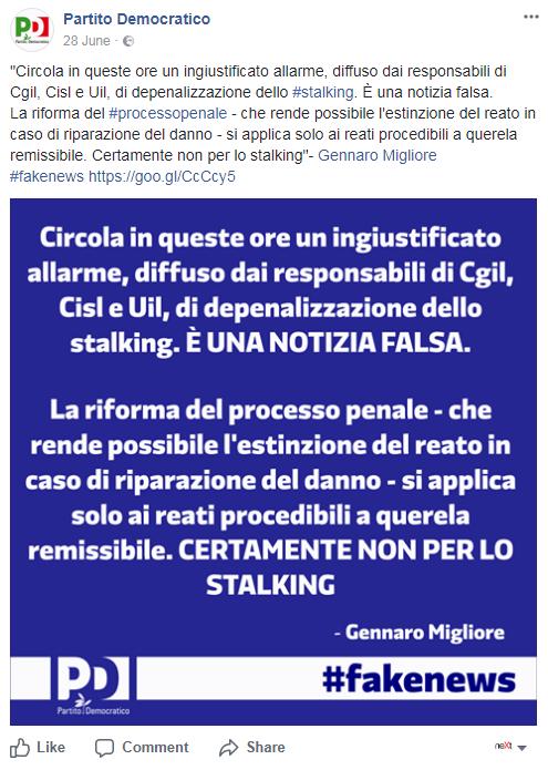depenalizzazione stalking legge partito democratico - 2