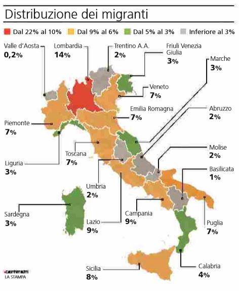 Dove sono i migranti nelle regioni italiane nextquotidiano - Regioni italiane non bagnate dal mare ...