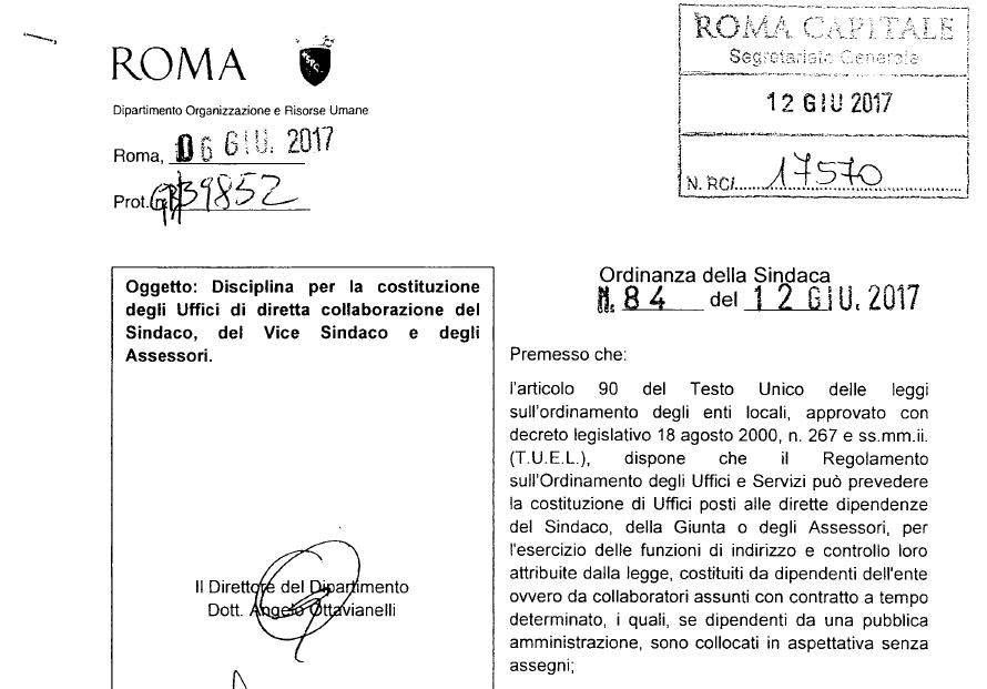 virginia raggi nominati espresso ordinanza 84 12 giugno - 1
