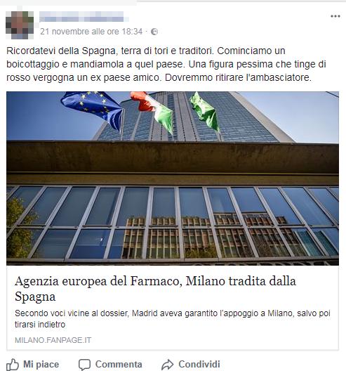 boicottaggio spagna francia germania agenzia farmaco europea ema milano - 1
