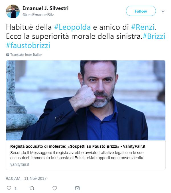 Brizzi accusato di molestie, Neri Parenti lo difende: