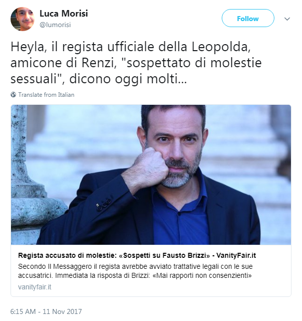 Molestie, sospetti su Fausto Brizzi. Lui: