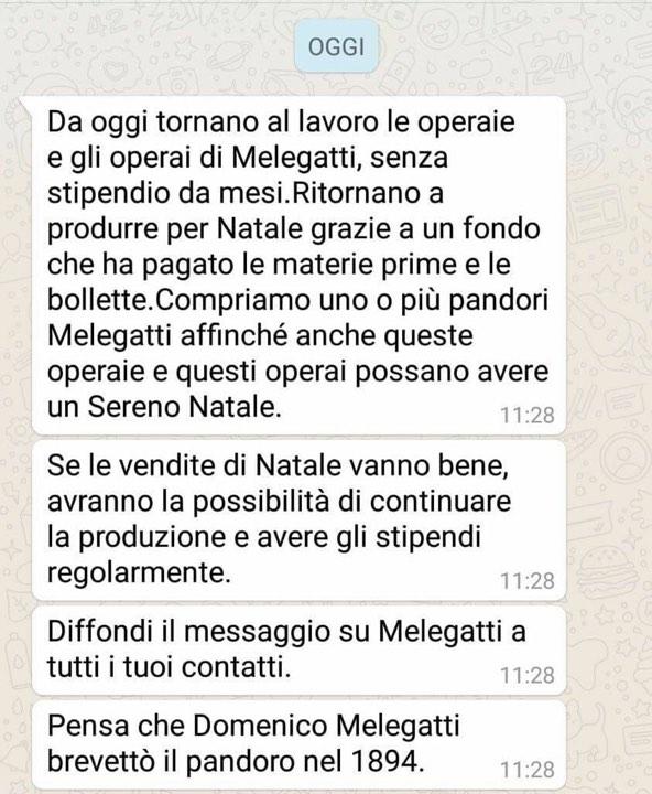 melegatti whatsapp natale