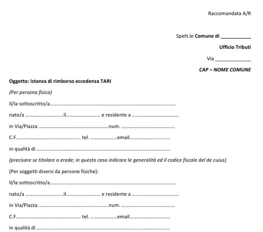 modulo rimborso tariffa rifiuti 2