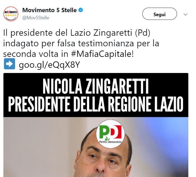 Zingaretti indagato per falsa testimonianza