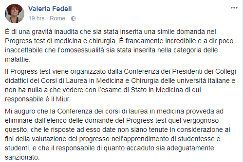 progress test medicina omosessualità polemica - 1