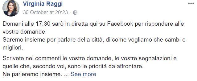 virginia raggi finta diretta su facebook 4
