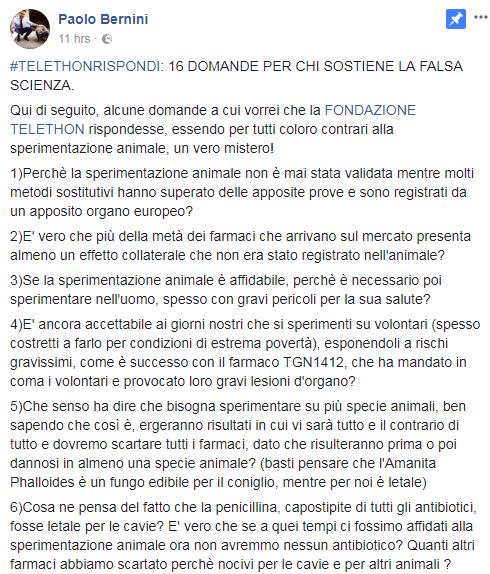 paolo bernini telethon sperimentazione animale domande - 3