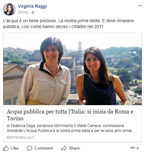 virginia raggi roma acqua pubblica - 1