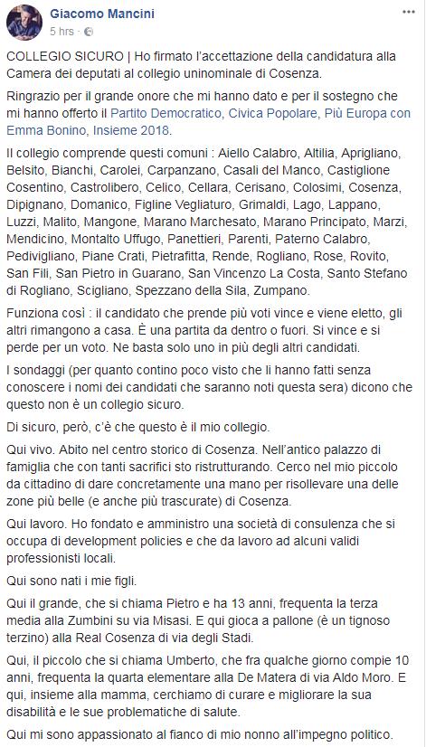giacomo mancini jr forza italia fratelli d'italia partito democratico cosenza - 2