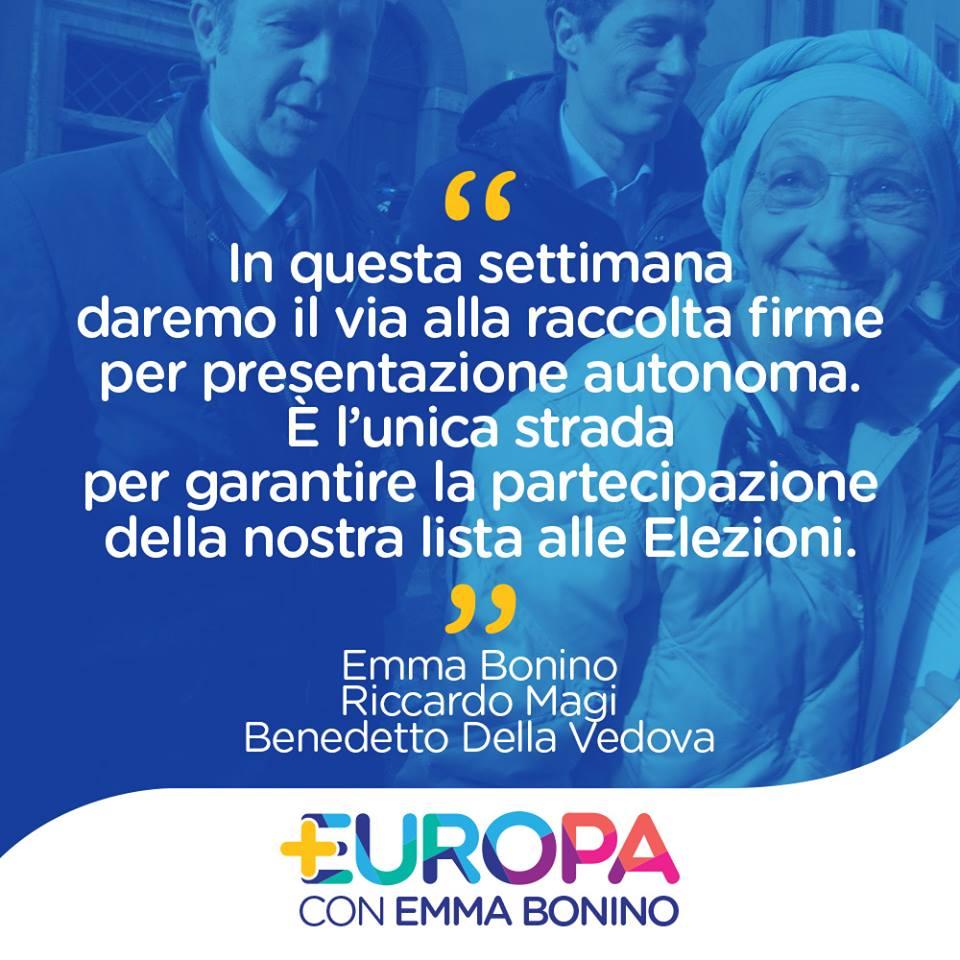 La lista di Emma Bonino correrà da sola