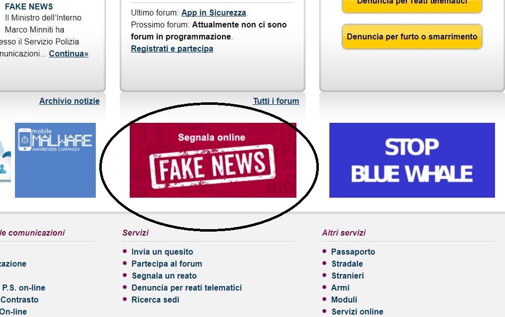red button fake news polizia