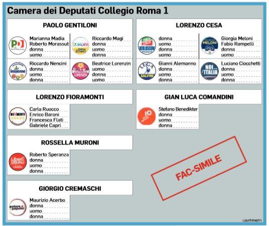 Elezioni 2018 la possibile scheda di roma 1 e i collegi for Chi vota i deputati