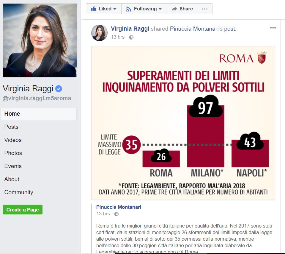 virginia raggi roma inquinata