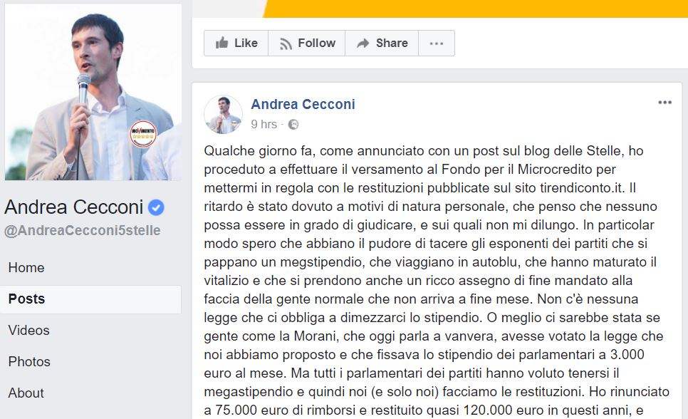 Andrea Cecconi: lo strano caso del candidato M5S scomparso