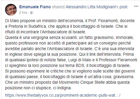 emanuele fiano lorenzo fioramonti israele boicottaggio m5s - 1