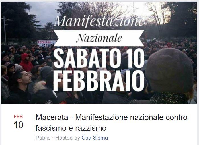 manifestazione macerata 10 febbraio