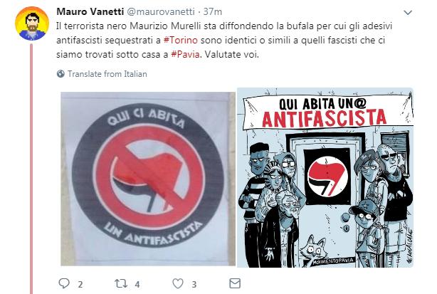 adesivi sequestrati qui abita un antifascista bufala sinistra cazzate e libertà - 2