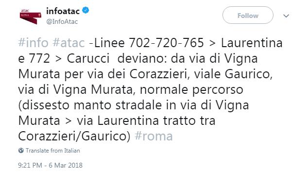 atac buche roma corse - 2