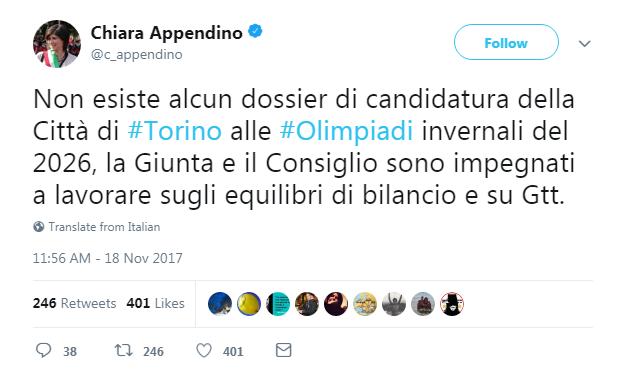 chiara appendino no olimpiadi torino - 1