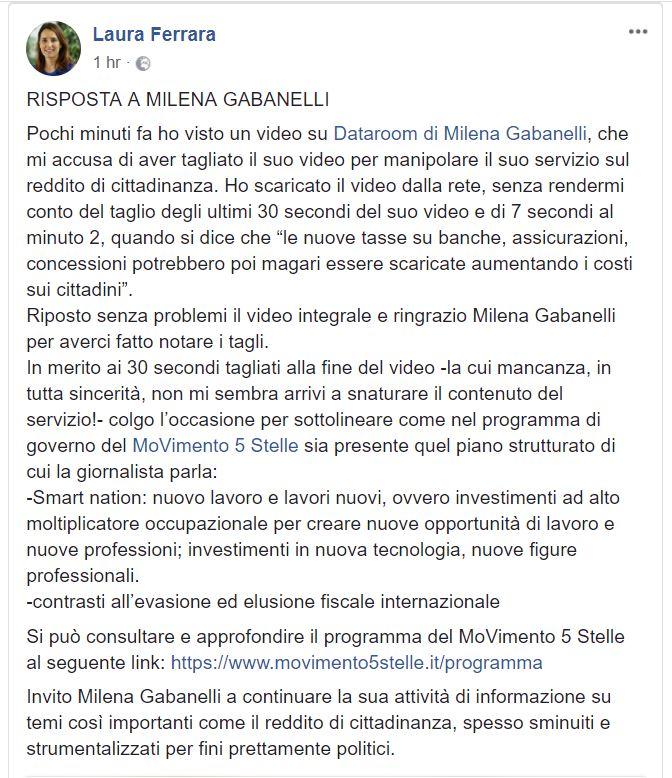 Il video di Gabanelli tagliato e usato dai grillini come spot