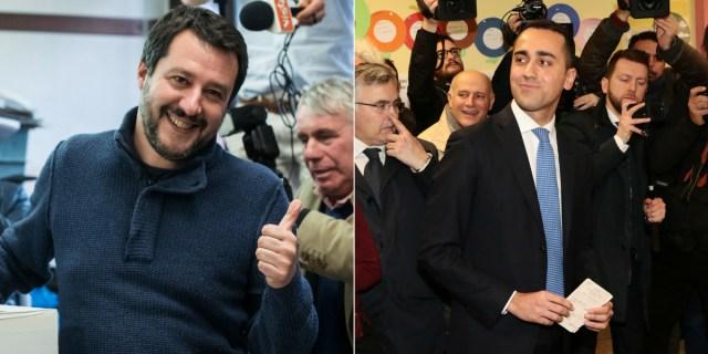 Bacio tra Di Maio e Salvini, il murales che
