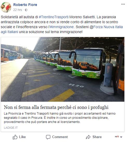 moreno salvetti rovereto autista autobus immigrati roberto fiore - 1