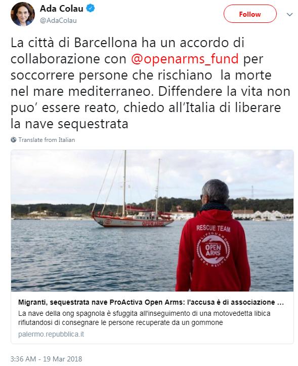 proactiva open arms ong sequestro catania zuccaro ada colau - 1