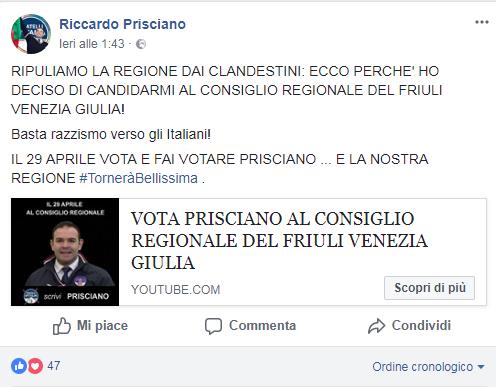 riccardo prisciano fratelli d'italia carabinieri piatti bicchieri immigrati - 4