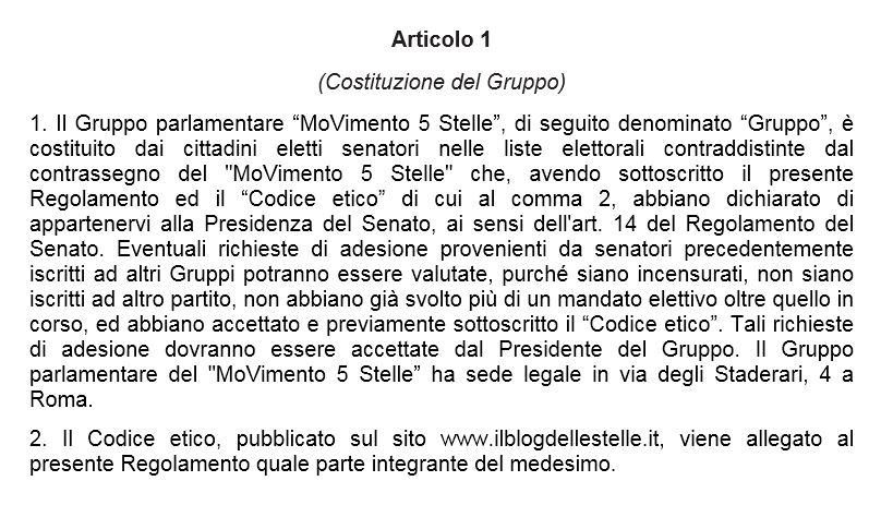 statuto gruppi m5s
