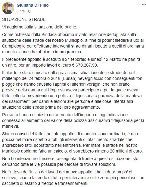 stradenuove giuliana di pillo buche roma m5s - 1