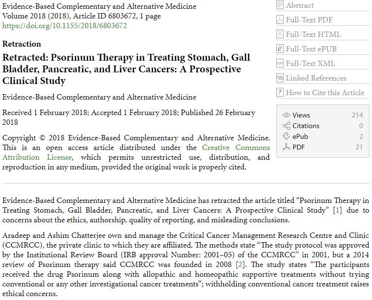 studio cancro scabbia omeopatia Aradeep Ashim Chatterjee ritirato - 2