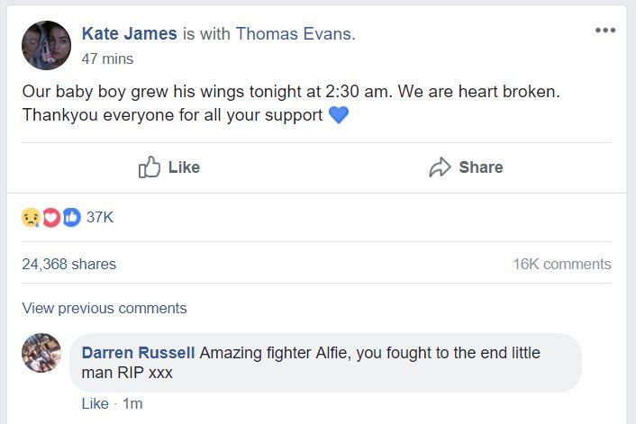 Alfie è morto, l'annuncio dei genitori su Facebook