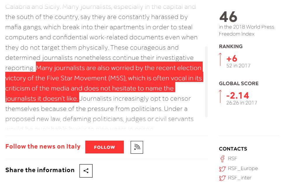 libertà di stampa italia m5s
