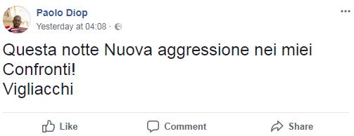 paolo diop aggressione razzista fidanzata - 2