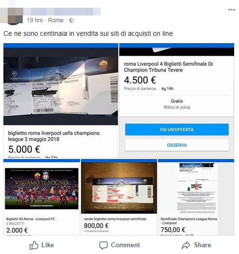 secondary-ticketing-roma-liverpool-biglietti-tribuna onore olimpico - 2