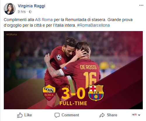 virginia raggi vittoria roma barcellona champions league - 1